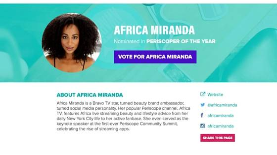 "Shorty Awards Nomination: ""Periscoper of the Year"" #vote4africa"
